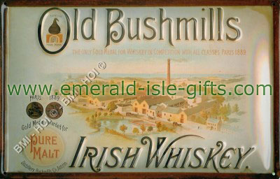 Old Bushmills Irish Whiskey Metal Pub Sign