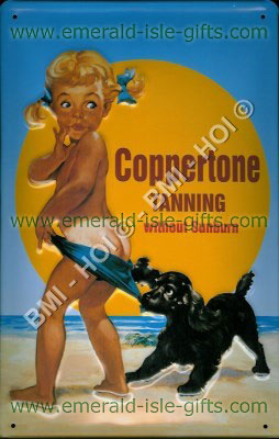 Old Coppertone Tanning Metal Advert