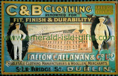 C&B Clothing Dublin old advert metal sign
