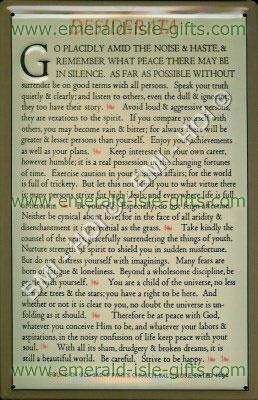 Desiderata Baltimore 1692 Prayer (Vintage Metal Sign)