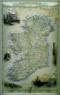 Irish Tourist old advert - metal sign (Map of Ireland)