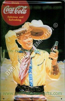 Coca Cola Cowboy old advert metal sign (Delcious and Refreshing)