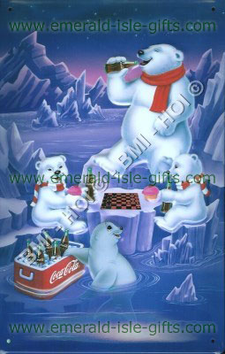 Coca Cola - Polar Bears picnic (vintage style on metal sign)