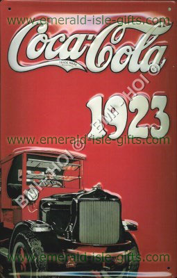 Coca Cola 1923 Truck Advert on metal sign (Nostalgic)