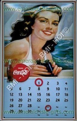 Coca Cola Calendar old metal advert (Pretty Girl)