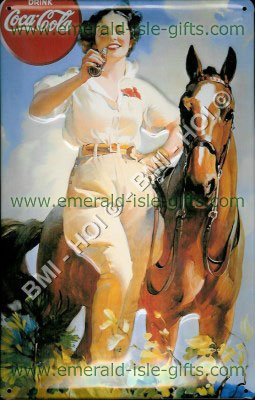 Girl with Horse - old advertisement (Enjoying Coca Cola)