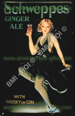 Schweppes Ginger Ale old advert metal sign