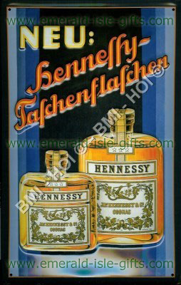 Hennessy  Brandy Advert on Metal sign