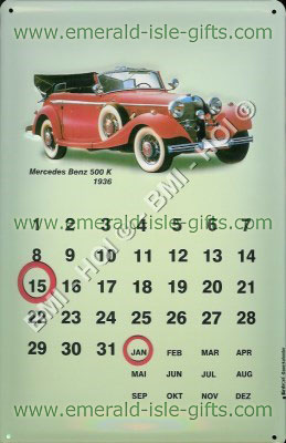 Mercedes-Benz Car Calendar Metal Sign
