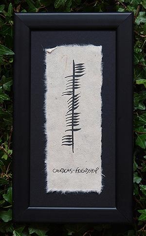 Friendship - Cairdeas - Framed Ogham plaque (Ireland