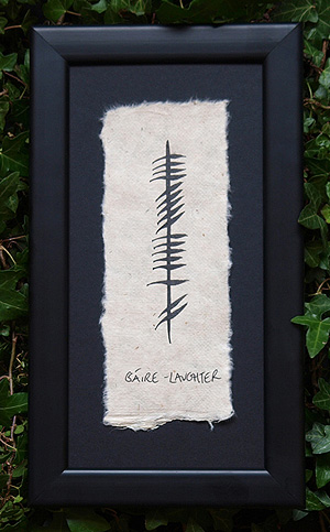 Laughter - Gáire - Ogham Framed plaque (The gift of happiness)