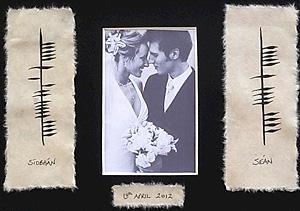 Irish Wedding Photo - with Ogham script (Fantastic Wedding gift)
