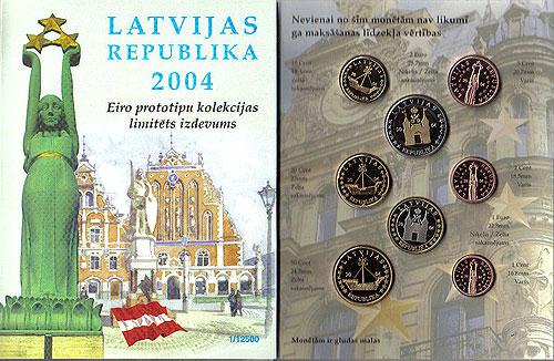 Latvia Latvijas Euro Pattern Set (Year of Issue - 2004)