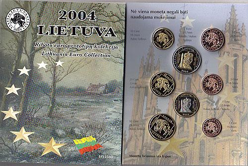Lithuania Lietuva Euro Pattern Set (Year of Issue - 2004)