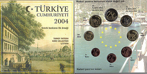 Turkey Turkiye Euro Pattern Set (Year of Issue - 2004)