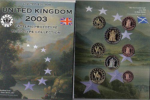 United Kingdom GB Euro Pattern Set (Year of Issue - 2003)