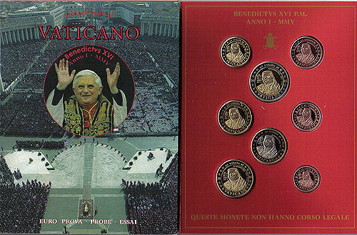 Vatican Pope Benedict Euro Pattern Set 2006 (Year of Issue - 2005)