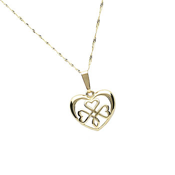 14K Gold Open Shamrock in Heart Pendant