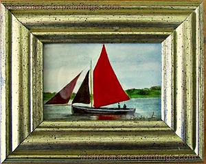A Galway Hooker - Original Watercolour Miniature