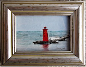 Poolbeg Lighthouse, Dublin - original miniature (Watercolour by Pervaneh Matthews)