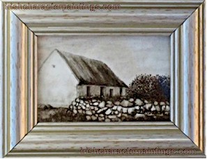 Sepia Thatched Cottage Miniature