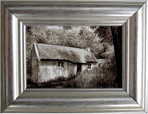 Sepia Thatched Cottage in Shadow