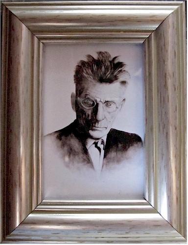 Samuel Beckett - Original Portrait (Miniature Watercolour by Pervaneh Matthews)