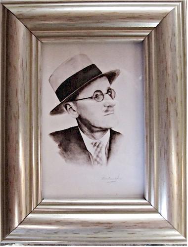 James Joyce -  Miniature Watercolour (Original by Pervaneh Matthews)