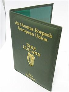 Irish Passport Wallet Holder - Genuine Leather (Dark Green)