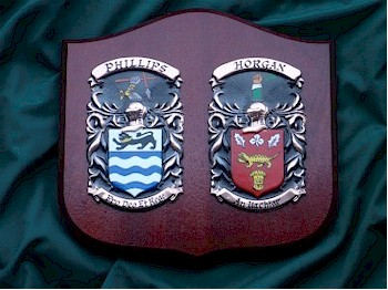 Handpainted Double Coat of Arms Shield (Standard Size)