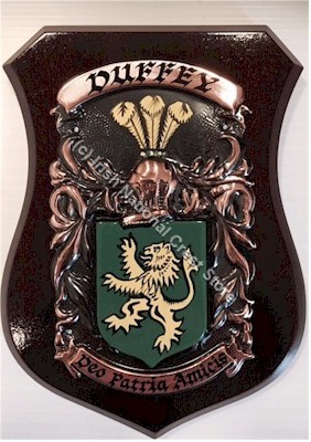 ARDERNE to BAGNALL Handpainted Family Crest Shield (Any Crest & Motto)