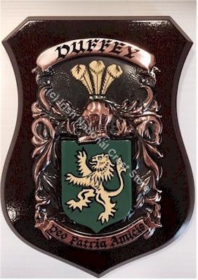 BRACKEN to BRIDGES Handpainted Family Crest Shield (Any Crest & Motto)