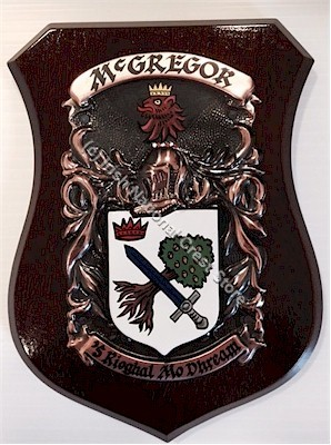 BRIGGS to BUCHANAN Handpainted Family Crest Shield (Any Crest & Motto)