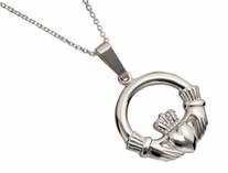 Irish Claddagh Stg Silver Hvy Pendant