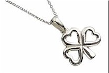 Silver Shamrock Lucky Irish Pendant
