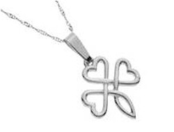 Silver Celtic Shamrock Triple Heart Love Pendant