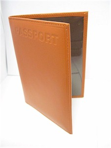 Tan-Brown Leather Embossed Passport