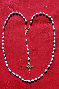 Rosary Beads Set Sky Blue Oval Plastic Silver Crucifix