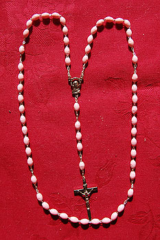 Italian Rosary Beads Pink Oval Silver Crucifix (+ Medal)