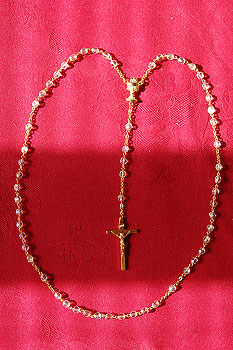 Rosary Beads Set White Crystal Beads (Gold Style Crucifix)