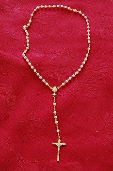 Rosary Beads Set Pink Pearl Beads