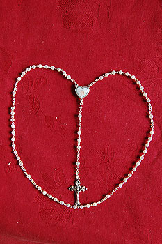Boys Pearl Rosary Beads (Silver Crucifix)