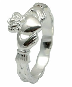 Ladies Silver Slim Claddagh Ring