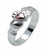Ladies Silver & 14K Rose Gold Claddagh Ring