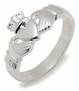 Mens Slim Sterling Silver Claddagh Ring