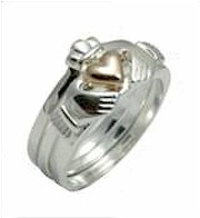 Silver & 14K Gold 3 Piece Claddagh Ring