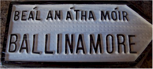 Ballinamore Old Style Cast Road Sign (County Leitrim)