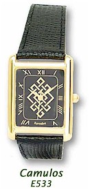Mens Celtic Pattern Gold Plated Wrist Watch