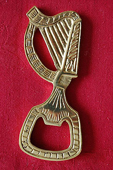 Irish Harp Brass Bottle Opener