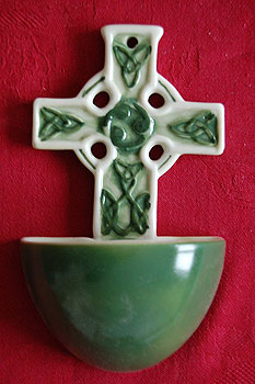 Celtic Cross Irish Holy Water Font (Ceramic Green)